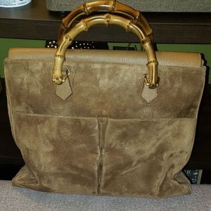 Gucci Suede Leather Two-way Bamboo Satchel